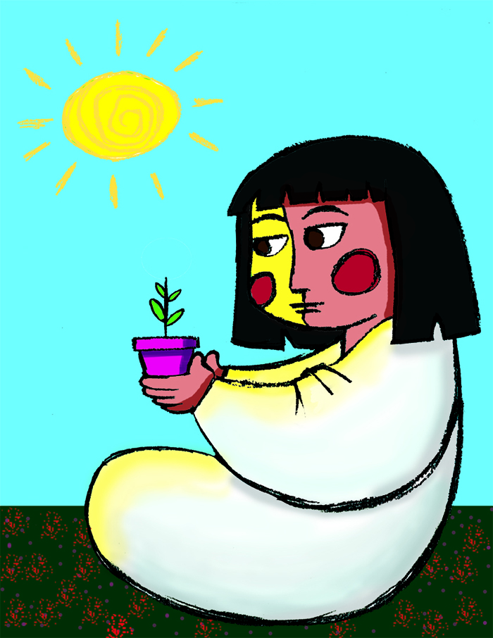 Girl with Plant